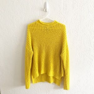 Forever 21 Open Stitch Roll Neck Yellow Sweater